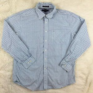 Tommy Hilfiger Men's White Blue Plaid Button Shirt